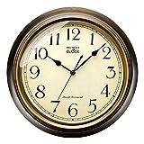 Grande Horloge Murale réctro, Horloge Silencieux Classique de 33 cm pour Salon, Chambre de Coucher ou Bureau, Alimenté par Piles (Bronze)