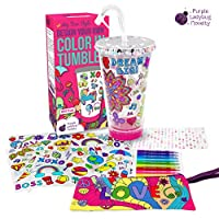 Create Your Own Personalized Tumbler for Girls with Color-In Designs! Insulated Kids Tumbler with Lid and Straw   Makes a Great Gift for Girl   Creative Craft Kit & Fun DIY Art Set for Children
