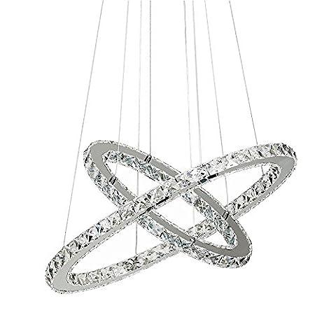SAILUN® 48W LED Cristal Design Lampe suspendue, Deux anneaux (Φ: 30 cm + 50 cm) Pendentif lampe de plafond lumière lustre créatif Blanc Froid Lustre (48W Blanc Froid)