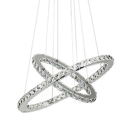 SAILUN® 48W LED Cristal Lámpara de Araña Moderna Lámpara Colgante, Dos anillos Lámpara de Techo Blanco Frío Iluminación Interior (48W Blanco Frío)