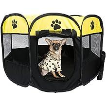 Parque Mascota de Juego Entrenamiento Dormitorio Perro Gato Conejo Octágono Plegable Lavable Durable 91x 91x 58 CM, Negro y Verde