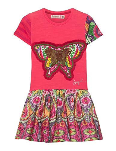 Desigual Mädchen Girl Knit Dress Short Sleeve (Vest_Albany) Kleid, Rot (Pink Fuschia 3022), 152 (Herstellergröße: 11/12)