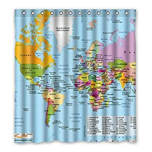dalliy Custom cortina de ducha de mapa del mundo poliéster 167cm x 183cm