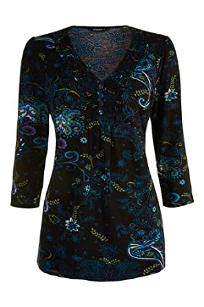 Roman Women's Floral Printed Frill Neck Top Teal Size 22