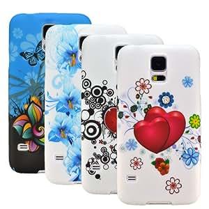 zkiosk 1549 Pack de 4 Coques en silicone pour Samsung Galaxy S5 G900F Motif Cercles de papillon de coeur floral Bleu/Noir/Rouge/Blanc