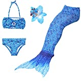 3 Pièces Maillot de Bain Princesse Queue de Sirène Mermaid Bikini(Il y a la boucle au bas de la queue,pouvez ouvrir pour marcher ou fermer pour ajouter monopalme) (140(8-9 Ans), Bleu foncé)