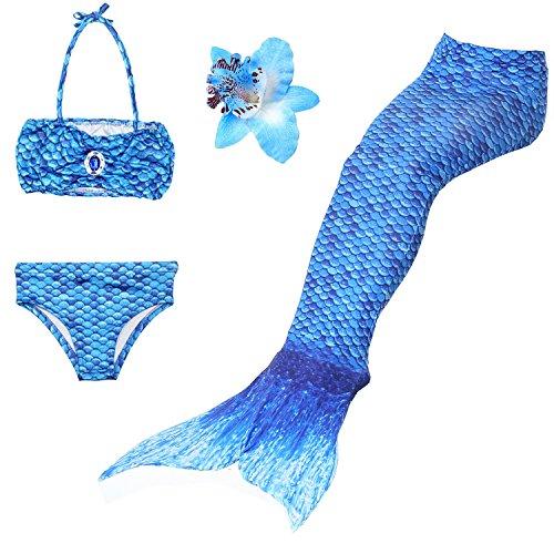 Mädchen 3 STÜCKE Meerjungfrau Schwanz Badeanzug Prinzessin Bademode Bikini Sets Können hinzufügen Monofin