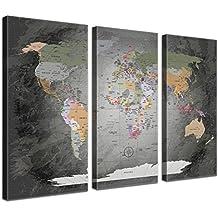 LanaKK Mapamundi con corcho para fijar los destinos - Mapa del mundo precioso gris, inglés, lámina sobre bastidor camilla en gris, enmarcado en tres partes de 150 x 100 cm