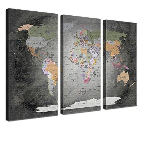 LanaKK World Map Edel Grau - Planisfero da parete per globe trotter con dorso in sughero e pregiata tela stampata su telaio, pronto da appendere, grigio-multicolore, 150 x 100 cm, 3 pezzi