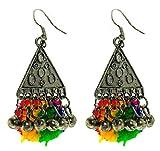 Medium Triangular earring with metal bal...