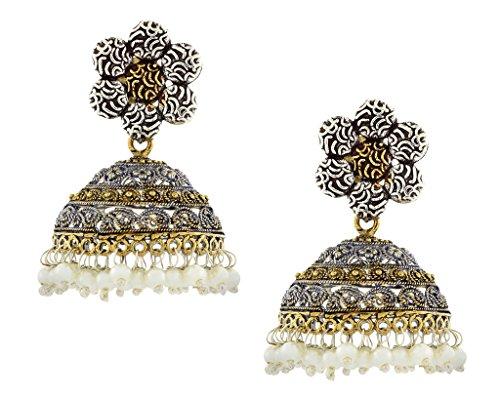 (Die Jewelbox Blume Gold Rhodium PT. Antik Oxidation Deutsche Silber Jaipur Jhumki Ohrring für Mädchen Frauen)