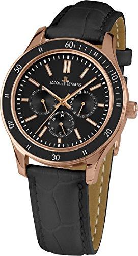 Jacques Lemans - 1-1691ZE Unisex Watch Analogue Quartz Black Leather Strap
