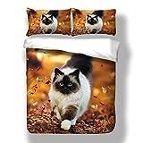 TENCMG 3D-Bettbezüge Set Bettwäsche Bettbezug mit Kissen- - Katze und Hund Stil Polyester-Faser Isolierung Anti-Falten,C,3pcs200*230(79 * 90.5in)