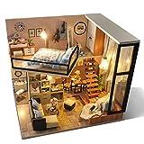 ELEDECOR Casa de Bricolaje, DIY Juego de Madera de Dollhouse Miniatura de Muebles y la Cubierta más a Prueba de Polvo, 1:24 Escala Sala Creativa para el día de San Valentín Idea de Regalo