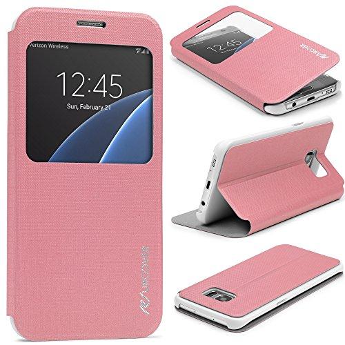 Urcover® Samsung Galaxy S7 Edge | View Case Funda Protectora | Cross Pattern en Rosa | Carcasa Protección Completa Case Cover Smartphone Móvil Accesorio