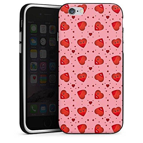 Apple iPhone X Silikon Hülle Case Schutzhülle Valentinstag Pink Herzen Silikon Case schwarz / weiß