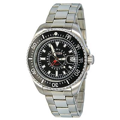 No limit Nautec Herren-reloj analógico de cuarzo de acero inoxidable deep Sea DS QZ-GMT/STSTBKBK de Nautec No Limit