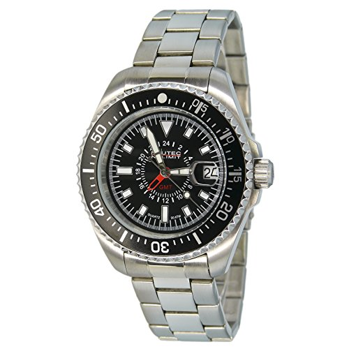 Nautec No Limit Unisex Analogue Watch with black Dial Analogue Display - DS QZ-GMT/STSTBKBK