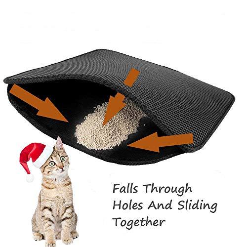 Queta Mat für Katze Doppelte Struktur Katzentoilette Katzenklo Matte Unterlage für katzenklo