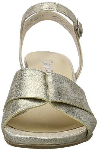 Silber Comfort holz 64 Damen Gabor Mit Keilabsatz Sandalen Offene platino Y5nBqw