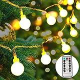 lichterkette batterie außen,100 LEDs Globe Lichterkette,LED Lichterkette warmweiß, Weihnachtsbeleuchtung für Party, Garten,Hochzeit[10M]
