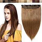 Clip in Haar Extensions echthaar Haarverlängerungen ein Teresse 5 Clips Haarverdichtung Haarteil 100% Remy Human Hair Hellbraun#6 24