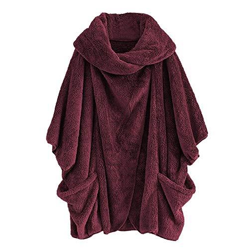 Innerternet_Femme Manteaux à Capuche Coton Lin en Peluche Moelleux Top ÉPais Automne Hiver Zippé Poches Veste Polaire Mi-Long Casual Sweatshirt