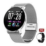 TagoBee TB11 Smartwatch Bluetooth IP68 Pulsera Inteligente Impermeable Reloj Movil HD Touch Screen Fitness Tracker Compatible con Android y iOS para Hombres Mujeres (Plata)