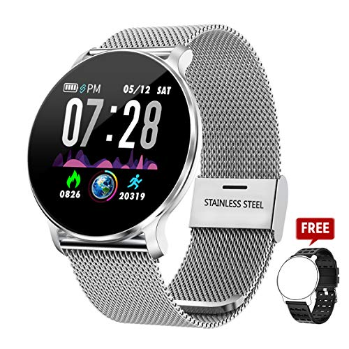 TagoBee TB11 Orologi Touch IP68 Impermeabile Salute Watch Bluetooth Trackers Fitness compatibile con Android e IOS per Uomo/Donna/Bambini(Argento)