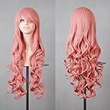 """MapofBeauty 32"""" Langes Haar Spirale lockige Cosplay Kostüm Perücke (rosa)"""