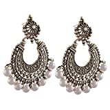Afghani Tribal Oxidised Dangler Stylish Fancy Party Wear Chandbali Earrings for Girls and Women by  Multiline Company