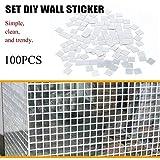 Adesivo da parete per piastrelle a specchio a 100 pezzi Adesivo per camera mosaico con decalcomania 3D su argento moderno