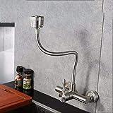 XPYFaucet Wasserhahn Armatur Mischbatterie Küchenspüle Balkon 304 Edelstahl Wandmontage universelle heiße und kalte Dusche Wäsche Pool Wäscheschrank