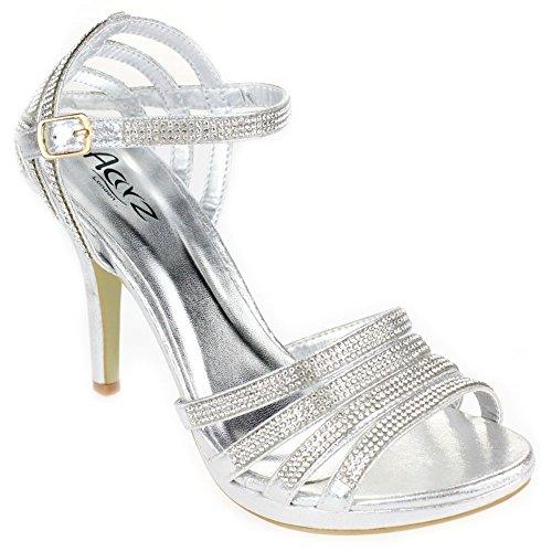 Aarz Femmes Mesdames Soirée de soirée de mariage Prom High Heel Sandal Diamante Bridal Chaussures Taille (Or, Argent, Noir, Champagne, Rouge) Argent