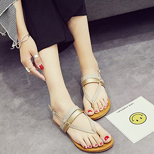 Vertvie damen Sommer Schuhe Strandschuhe Offene Sandalen Boho T-Spangen Flats Thong Sandalen Zehentrenner Schuhe Strand Flip Flop Hausschuhe Beige