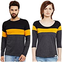 The Dry State Couple's Cotton Multicolour Stylish Tshirt