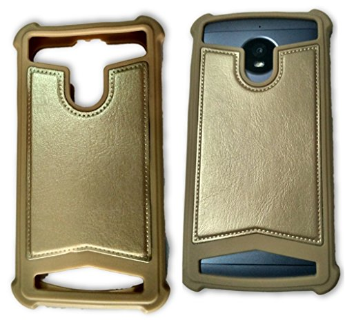 BKDT Marketing Rubber and Leather Soft Back Cover for HTC Desire 700- Gold