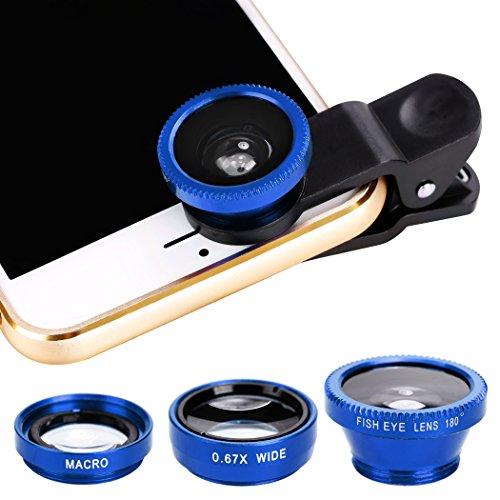 Xinnio Universal-3-in-1 Kamera-Objektiv, 0,67 x Weitwinkelobjektiv + 180 ° Fischaugenobjektiv, Makro-Kamera-Objektiv, Clip-On für iPhone XR/XS/XS MAX/X/ 8 7 6 Plus, Samsung Smartphones, M, blau Acc-wireless-kit
