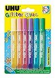 Uhu D1551 Glitter Glue Uhu, Shiny, Assortiti, 10 ml, Confezione da 6