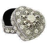 Schmuckdosen aus Aluminium mit Perlen, Glitter und Strass verziert Ø 7 cm Größe Herzform