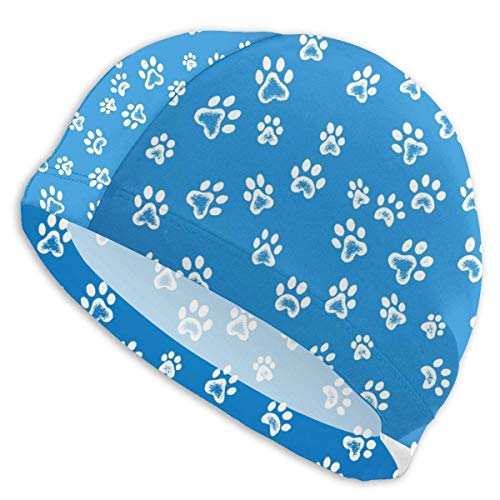 KIMIOE Schwimmhaube Badekappe Dog Paws Pattern Unisex Swim Cap Cute Swimming Caps for Short and Long Hair -