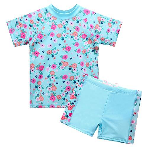 HUAANIUE Bademode Badeanzug Set Baby Mädchen Junge Badebekleidung Sonnenschutzkleidung Schwimmsportbekleidung mit Blumen 3-10 Jahre