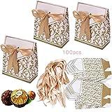 100 x Geschenkbox mit Schleife Klein Gastgeschenk Geschenktüten Bonboniere Geschenk Tüten Kästchen Papiertaschen Süßigkeiten Verpackung für Hochzeit Party Geburtstag Babytaufen
