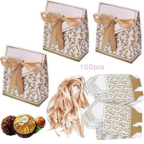 (100 x Geschenkbox mit Schleife Klein Gastgeschenk Geschenktüten Bonboniere Geschenk Tüten Kästchen Papiertaschen Süßigkeiten Verpackung für Hochzeit Party Geburtstag Babytaufen)