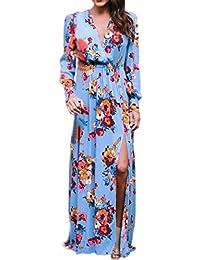 340c3ddd0d5 Longra Robe Femme Fille Vintage Bohême Imprimé Manches Longues Robe À  Fleurs Femme Robe Portefeuille Femme