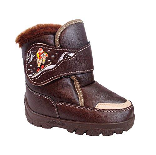 Renbut Jungen Boots Herbst Winterschuhe Stiefeletten Braun Klettverschluss Braun