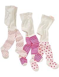 wellyou, Kinder-Strumpfhosen für Mädchen 3er Set, Baby-Strumpfhosen ecru neon-pink, hoher Baumwoll-Anteil, Größe 62 – 146