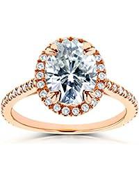 Oval Moissanite y Diamond Halo anillo de compromiso 21/3de quilate en 14K oro rosa _ 12,0