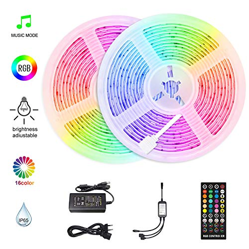 HoMii LED Streifen 10m - RGB LED Strips Sync mit Musik, IP65 Wasserdicht 300 LED 5050 SMD Farbwechsel LED Strip, 40 key Fernbedienung,16 single colors (10M)