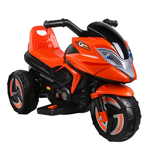 Elektroauto für Kinder Kinderfahrzeuge Elektrofahrzeuge Dreirad Spielzeugbatterie-Auto Gelb-orangeer Kinderwagen Simulationsmodell, Mit Leichter Musik, Kann 1-6 Jahre Alte Kinder Sitzen